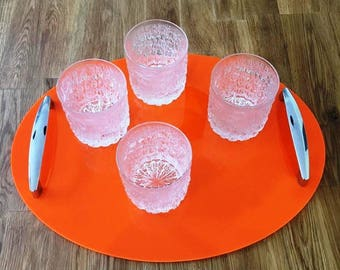 "Oval Serving Tray with Chrome Handles in Orange Gloss Finish 3mm Thick & Rubber Feet. Size 40cm x 30cm, 16"" x 12"""