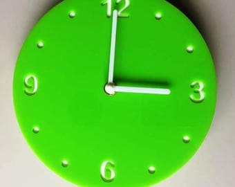 "Round Lime Green & White Clock - White Acrylic Back, Gloss Finish Acrylic with White hands, Silent Sweep Movement. Sizes 8"" or 12"""