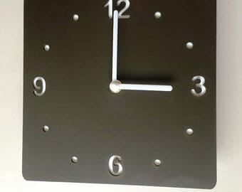 Rounded Corner Square Mocha Brown & White Clock - White Acrylic Back, Mat Finish Acrylic with White hands, Silent Sweep Movement