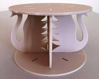 "Swans Round Latte Beige Mat Acrylic Cake Pillars / Cake Separators, for Wedding / Party Cakes 10cm 4"" High, Size 6"" 7"" 8"" 9"" 10"" 11"" 12"""