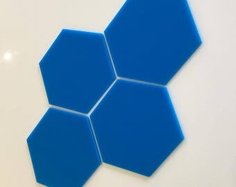 """Bright Blue Gloss Acrylic Hexagon Crafting Mosaic & Wall Tiles, Sizes: 1cm to 20cm - 1"""" to 7.9"""""""