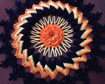 Halloween Doily, Trick or Treat Doily, Candy Corn, round handmade doily