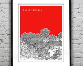 Sleepy Hollow New York Skyline Poster Art Print NY Version 1