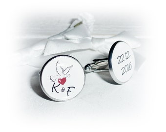 Personalised cufflinks, Dove, heart, text,