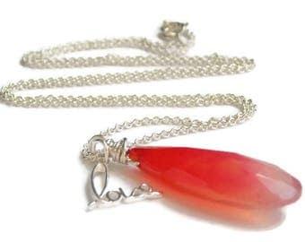 Canada 150 // Red Chalcedony Love Charm Necklace // Vibrant Gemstone Jewelry // Luxe Gemstone Jewelry // July Birthstone Jewelry
