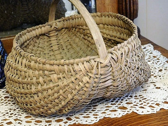 Antique Double Buttock Basket Splint White Oak Handmade Primitive Rustic Folk Art Egg Melon Basket Victorian Country Farmhouse Home Decor