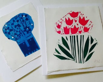 Pack of two handmade Lino cut cards both blank for own message