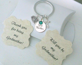 Godmother Keychain, Will You Be My Godmother, Gift For Godmother, Thank You For Being My Godmother, Godmother Gift, Charm Is Size Of  Nickle