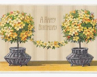 Floral Topiaries Birthday Postcard, 1910