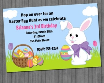 ON SALE!!  Easter Bunny Birthday Invitations