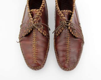 Vintage Shoes // Men's Leather Mocassin Lace Up Shoes