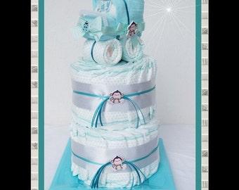 Diaper cake diaper diaper cake baby carriage stroller-turquoise unisex