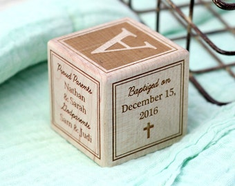 NEW // Baptism Gift Wooden Block // Custom, Personalized Religious, Catholic, Christian Baby Dedication Gift