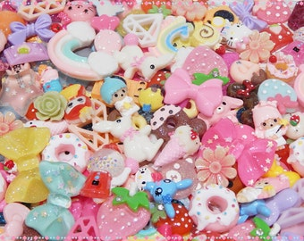 Mixed Lot of 25 Kawaii Resin Cabochons For Decoden,Scrapbooking, Cardmaking, Project Life and Pocket Letters