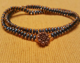 Hipper Zipper Bracelet, blue and orange