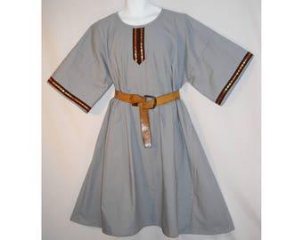 Sz 2X Medieval Tunic Grey Cotton w/ Jacquard Trim SCA LARP