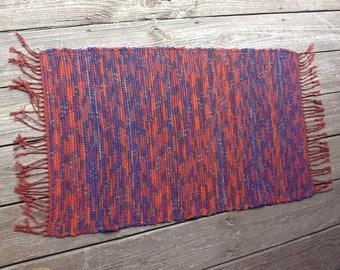 """Handwoven Wool Rag Rug  25"""" x 41"""""""