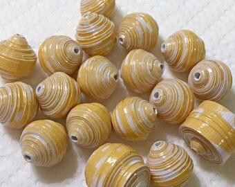 Yellow Paper Beads Loose Mixed Set