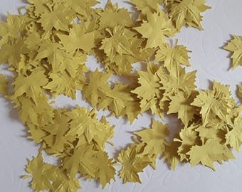 Yellow maple paper leafs crafting card making confetti paper tags cardmaking supplies  (50 pcs)