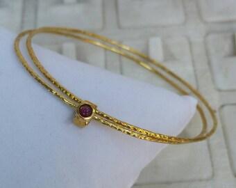 Stackable Gold Bracelet ,14K Yellow Gold Bangle ,Stacking Bracelet ,14K Gold Gemstones Bracelet ,Ruby Gold Bracelet ,Gold Unique Bracelet