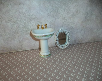 1:12 scale Dollhouse Miniature Porcelain Bathroom Sink