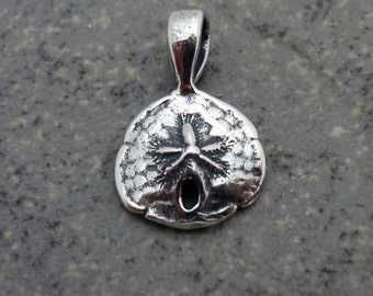 Tiny Sand Dollar Pendant - Handmade in 14k Gold or Sterling Silver