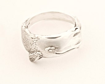Large Sperm Whale Ring Handmade in Sterling or Gold