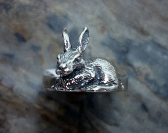 Bunny Rabbit Ring - Handmade in 14k Gold and Sterling Silver