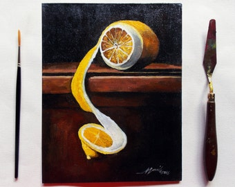 Original Painting - Still Life in Oil on Canvas board - The Lemon - Chiaroscuro  - Peeled Yellow Lemon - Size: 9.3 x 7 x 0.1 inches