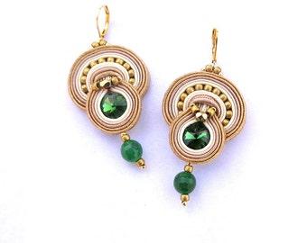 Dangle Crystal Earrings, Soutache Earrings, Beige Gold and Green Earrings, Handmade Earrings, Beaded Earrings, Soutache Jewelry