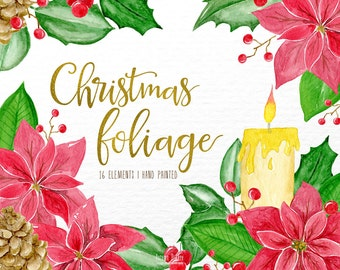 christmas watercolor clipart, christmas clipart, christmas clip art, watercolor christmas,holly christmas,holidays,winter clipart,poinsettia
