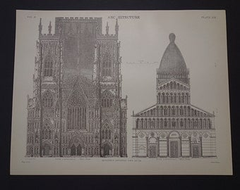 YORK CATHEDRAL PRINT - original 1875 old architecture print with antique pictures of York Minster and Duomo di Pisa cathedral - 21x27c 8x11""