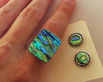 Square Paua Abalone Shell 925 Sterling Silver Ring