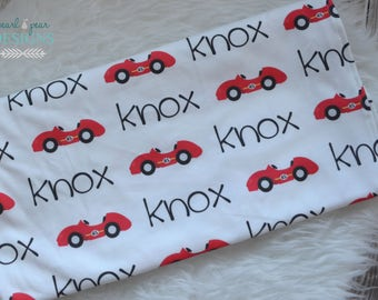 Personalized car swaddle blanket: baby and toddler personalized name newborn hospital gift baby shower gift
