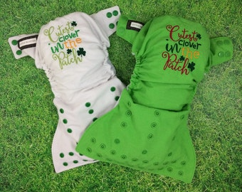 One size pocket diaper / Cutest clover in the Patch embroidery / Little Beasties / adjustable elastic / leg gussets / St Patrick's Day