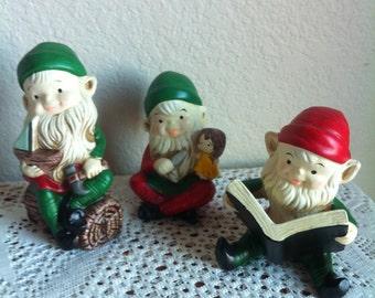 Three Ceramic Homco Elves