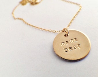 Gold Filled Mama Bear necklace