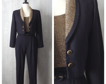 luxe be a lady | Women's Vintage 80s 90s John Roberts 3 Piece Black and Gold Jumpsuit Romper, Belt, & Jacket Set // Size XS Small