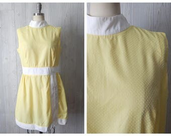 sunshine day | Women's Vintage 60s Yellow and White Swiss Dot Sleeveless Mini Dress with Shorts 2 pc Playsuit // Size Small