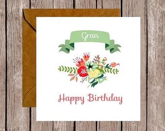 Floral Gran Birthday Card