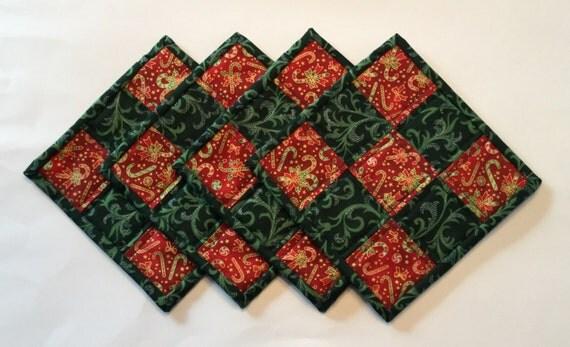 Quilted Mug Rugs, mug rugs, Christmas mug rugs, mug rug set, quilted coasters, coaster set, fabric coasters, country coaster set, table coas