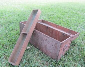 Vintage Carpenters Box, Industrial Box, Work Box, Wood and Metal Tool box, Latched Box, Storage Box