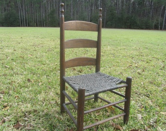 Farmhouse decor,wood chair,Antique Ladder Back, Dinning Chair, rustic,woven wood seat,chair, primitive chair, Side Chair, hand made chair