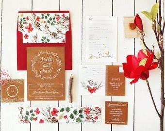Rustic Winter Wedding Invitations - Kraft Floral Invites - Printable or Printed - Christmas Wedding - Noelle