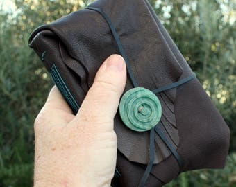 Brown Leather Journal with Spiral Button /Notebook /Diary Made in Australia.