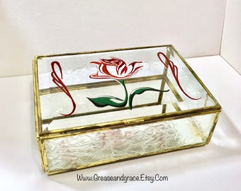 Rose Art- Antique Leaded Glass Box with Frosted Glass and Mirrored Interior