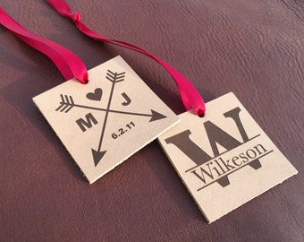 personalized ornaments, monogram ornament, Leather anniversary gift for her, wedding monogram, party favor tags, party favor gift, custom