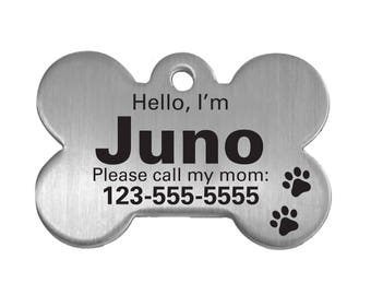 Personalized Pet ID Tag – Stainless Steel Bone - Dog Pet Tag, Hi My Name is Pet Tag, Paw print pet ID, Pet identification, gift for dog mom