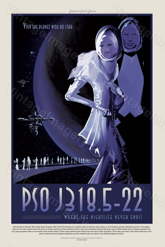 PSO J318.5-22 Where the Nightlife Never Ends ExoPlanet 2016 NASA/JPL Space Travel Poster Space Art Great Gift idea Office man cave Wall Art