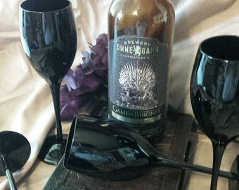 Black As Night Wine Glasses